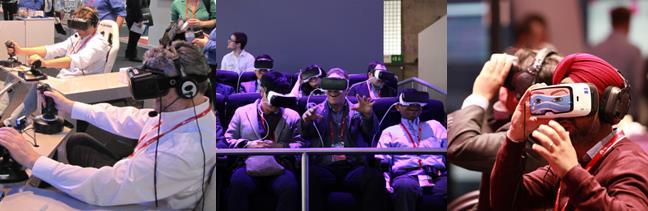 MWC 2016 전시장에서 VR 기기 체험 중인 관람객. - 바르셀로나=김규태 기자, GSMA 제공