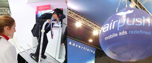 KT 부스에서 동계올림픽 VR을 즐기는 관람객(왼쪽)과 VR 광고를 내세운 에어푸시사 - GSMA, 바르셀로나=김규태 기자 제공