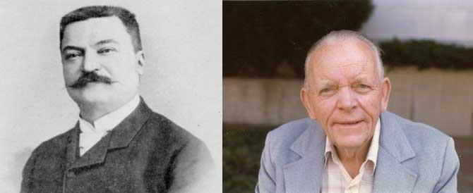 프랑스의 수학자인 에두아르 뤼카(왼쪽)는 뤼카-레머 판정법의 기초가 되는 소수 판정법을 만들었다. 그는 이것을 이용해 12번째 메르센 소수인 2127-1이 소수임을 밝혀냈다. 미국의 수학자인 데릭 레머(오른쪽)는 뤼카가 만든 판정법을 개량해 오늘날의 뤼카-레머 판정법을 만들었다. - 위키미디어 제공