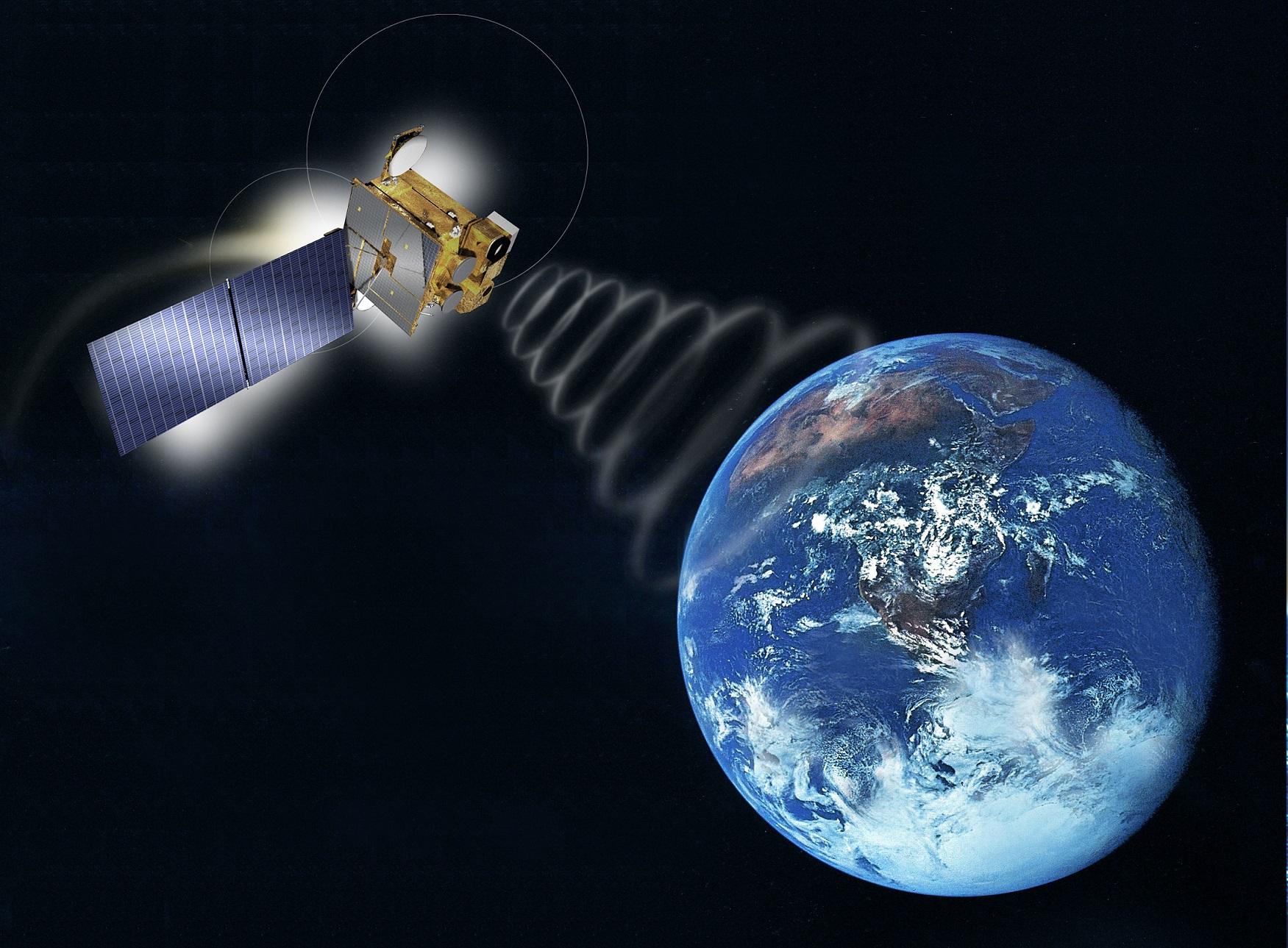 천리안위성의 통신 모습을 그린 상상도.