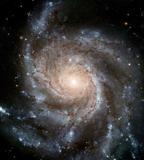 초대형 바람개비 은하 M101. 1994년 3월, 1994년 9월, 1999년 6월, 2002년 11월, 2003년 1월 허브망원경으로 각각 찍은 사진 51장을 모아 하나로 만든 작품.