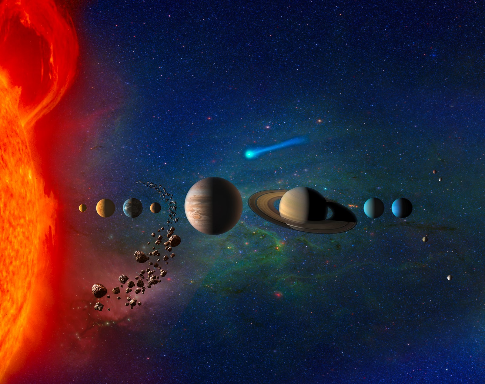 태양계는 가장 큰 태양과 다양한 크기의 크고 작은 행성으로 구성돼 있다. NASA