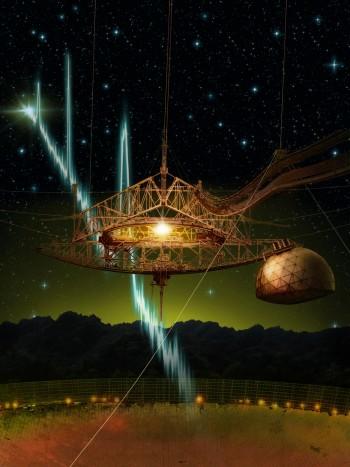아레시보 전파망원경의 모습. 국제 공동연구진은 아레시보 전파망원경을 이용해