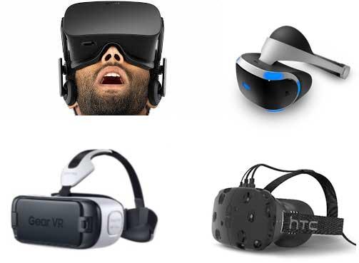 다양한 VR 헤드셋 기기들 - 오큘러스(왼쪽 위), 소니(오른쪽 위), 삼성(왼쪽 아래), HTC(오른쪽 아래) 제공