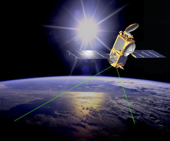 위성 양사통신 실험에 쓰이고 있는 미국항공우주국(NASA)의 위성 '제이슨(Jason) 2호'. 지상에서 보낸 양자정보를 반사시켜 전달하는 역할을 한다 - 미국 항공우주국(NASA) 제공