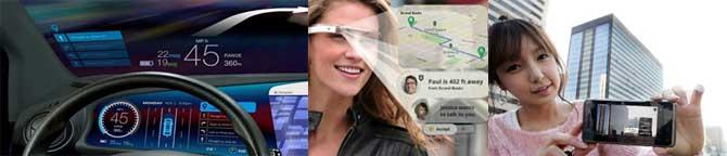차량용 HUD 내비게이션(왼쪽), 구글글래스(가운데), SKT 오브제(오른쪽) - 구글, SKT 제공