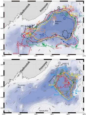 13년 간 추적된 아고플로트의 궤적. 겨울이 아닌 경우 분지 전체를 반시계 방향으로 순환하는 해류가 나타나지만, 겨울철엔 동쪽에 반시계 방향의 작은 소용돌이가 나타난다. - 한국해양과학기술원 제공