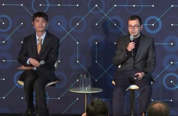 이세돌 9단과 데미스 하사비스 딥마인드 CEO가 5국을 마친뒤 기자회견을 하는 모습. - 유튜브 화면 캡처 제공