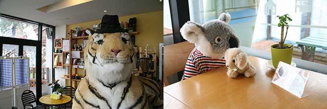 커다란 호랑이 인형이 반겨주는 1층(왼쪽), 곳곳에 있는 인형 친구들 덕분에 혼자 와도 외롭지 않다.(오른쪽) - 고기은 제공