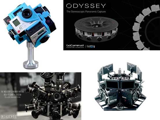 리그 타입 촬영장비들. 고프로 360 히어로(왼쪽 위), 고프로 오딧세이(오른쪽 위), HEADCASE VR(왼쪽 아래), scopic(오른쪽 아래) - GoPro, HEADCASE, scopic 제공