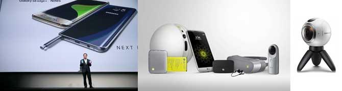 2016 MWC에서 삼성전자는 갤럭시S7과 함께 기어360를 공개했고 LG전자 역시 LG G5와 함께 VR캠을 포함한 LG프렌즈를 선보였다. - 삼성전자, LG전자 제공