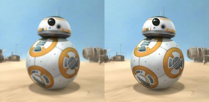 영화 '스타워즈'에 등장하는 로봇 'BB-8'. 인공신경망을 이용한 화질 개선 알고리즘을 흐릿한 사진(왼쪽)에 적용하자 색이 선명하고 선이 뚜렷한 고화질 사진(오른쪽)으로 바뀌었다. - 김지원 서울대 박사과정 연구원 제공