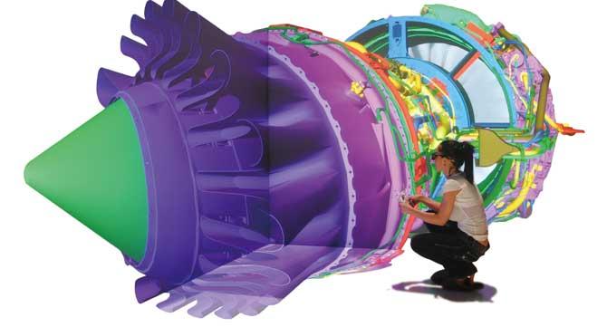 가상현실을 이용해 비행기 엔진 구조에 대해 배우고 있는 학생의 모습. - EON Reality 제공