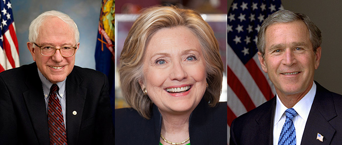 왼쪽부터 버니 샌더스, 힐러리 클린턴, 조지 부시 전 대통령 - 위키미디어 제공