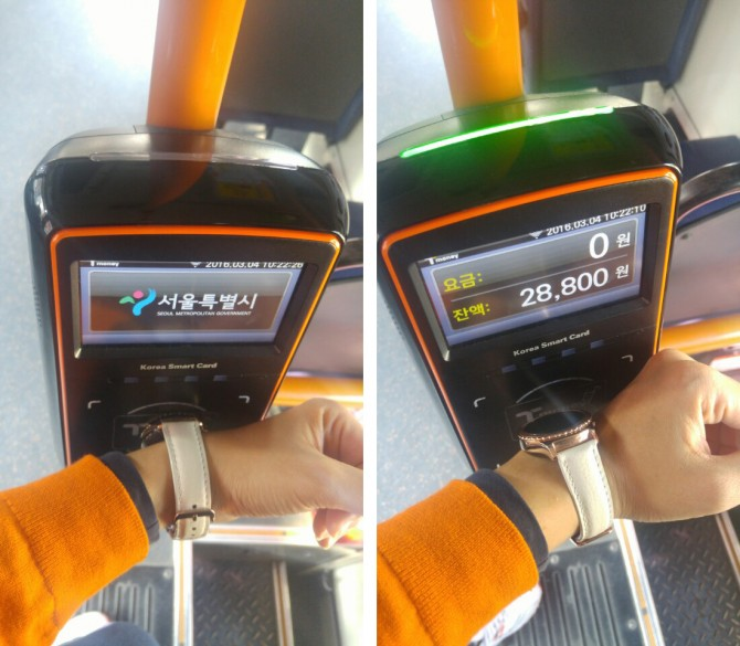 버스 카드리더기 태그의 잘못된 예(왼쪽)과 잘된 예(오른쪽) - 오가희 기자 solea@donga.com 제공