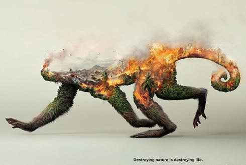느낌이 확, 강렬한 '환경 파괴 고발 포스터' 인기