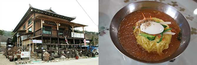 고풍스러운 외관의 마실(왼쪽), 국물 한 방울 남김없이 그릇을 깨끗이 비워낸 묵은지말이국수(오른쪽) - 고종환, 고기은 제공