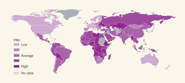 규범 위반 만연도(PRV) 지수에 따른 세계. 색이 짙을수록 PRV 지수가 높은, 즉 규범 위반이 일상화된 나라들이다. 우리나라는 평균 수준으로 보인다. - 네이처 제공