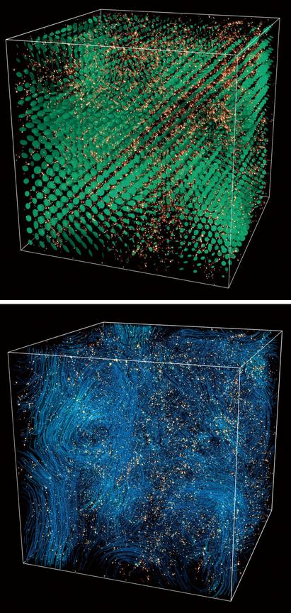 뉴턴역학을 사용한 기존의 우주팽창 시뮬레이션(위)과 일반상대성이론을 적용한 새 시뮬레이션(아래). - 네이처 피직스 제공