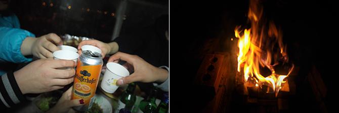 게스트하우스의 꿀재미는 단연 삼겹살 파티! 맥주 한잔 하며 나이를 허물고 친구가 되는 시간(왼쪽), 모닥불에 고민도 함께 태워지는 듯하다.(오른쪽) - 고기은 제공