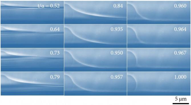 초미세 물이 증발하는 과정을 엑스선 나노영상으로 분할 촬영해 얻은 이미지. 초미세 물이 증발할 때 안쪽으로 오목한 모양이 생기면서 내부 압력이 주변 대기압(1기압)보다 낮아져 증발속도가 점차 느려졌다. - 성균관대 제공