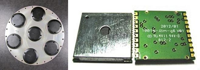 북한의 위성위치확인시스템(GPS) 신호 교란에 대응할 수 있도록 만든 '수신 패턴 제어 안테나(CRPA)'(왼쪽). 유사시에 대비해 미국의 GPS와 러시아의 '글로나스'를 동시에 수신할 수 있는 칩도 개발됐다(오른쪽). - SATIMO닷컴, 아센코리아 제공