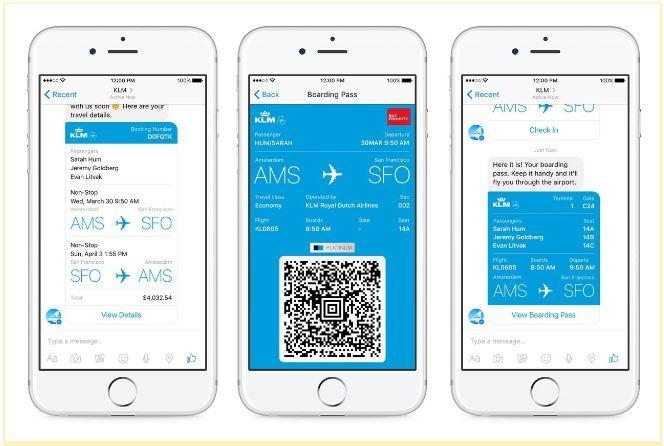 페이스북 메신저에서 KLM 항공권을 발권할 수 있게 됐다.  - theverge 제공