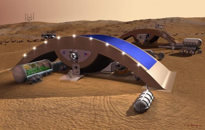 한국건설기술연구원이 미국 업체인 자크와 공동으로 구상한 화성 기지 예상도. 건물의 하단부부터 자재를 쌓아 올리는 '3차원 적층 건설기술'이 적용됐다.  - 한국건설기술연구소 제공
