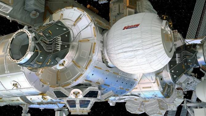 16일 국제우주정거장(ISS)에 연결된 우주 거주시설의 시험판 '비글로의 확장 가능한 활동 모듈(BEAM)'. - 비글로 에어스페이스 제공