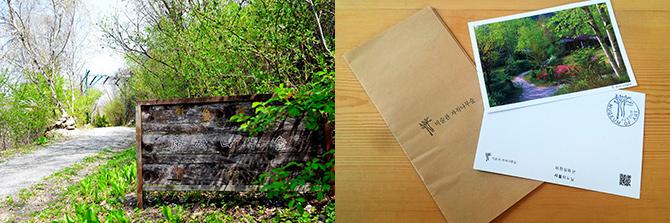 미술관 자작나무 숲 입구(왼쪽), 입장권으로 미술관 자작나무 숲 사진엽서를 준다.(오른쪽) - 고종환, 고기은 제공