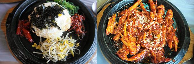 잃어버린 입맛을 찾아주는 더덕 산채비빔밥(왼쪽), 매콤한 더덕구이는 밥도둑이 따로 없다.(오른쪽) - 고기은 제공