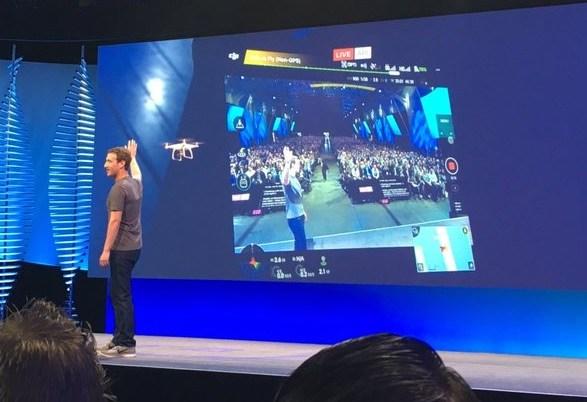 마크 주커버스 CEO가 드론으로 페이스북 라이브를 하고 있는 모습