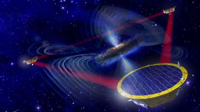 유럽우주국(ESA)이 구상 중인 '레이저간섭계우주안테나(LISA·리사)' 프로젝트의 중력파 탐사용 우주망원경 상상도. - 유럽우주국(ESA) 제공