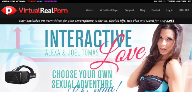 대표적인 해외 성인VR 서비스 'Virtualrealporn' 사이트 캡처화면 - Virtualrealporn 제공