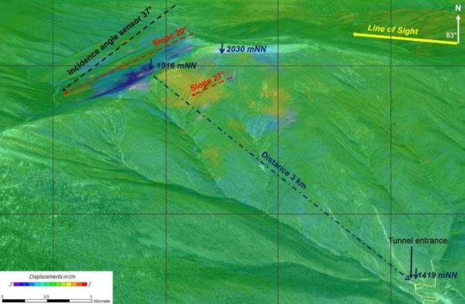 1월 6일 북한의 4차 핵실험이 실시된 풍계리 지역에서 나타난 핵실험 전후 지표면 변화. 핵실험 이전과 비교했을 때 지표면이 가라앉거나(파란색) 솟아오른(노란색) 것으로 확인됐다. - 유럽우주국(ESA)·독일 연방지구과학천연자원연구소(BGR) 제공