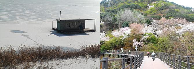 지난 겨울 꽁꽁 얼어 있던 의암호(왼쪽), 봄으로 물든 삼악산과 어우러진 호수 풍경(오른쪽). - 고기은 제공