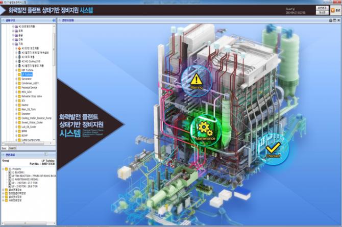 3D기술정보시스템을 구동하고 있는 컴퓨터 화면. 발전소 내부에 있는 모든 시설정보를 한 눈에 확인할 수 있다. - 한국기계연구원 제공