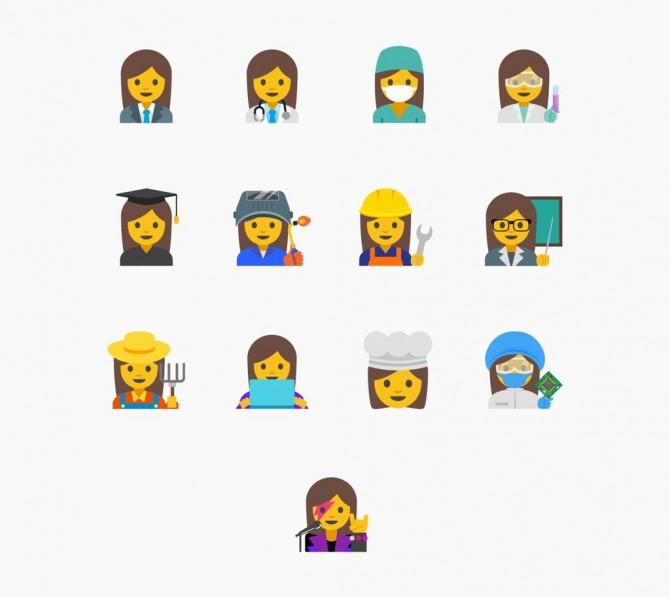 구글 디자이너들이 제안한 13개 일하는 여성 이모티콘들 - 구글 디자인 트위터 제공