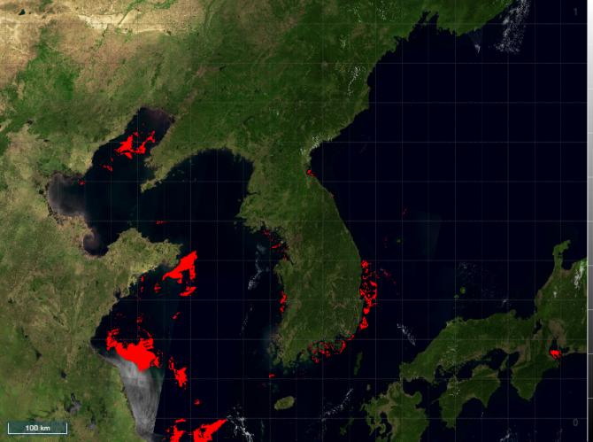 한국과학기술정보연구원(KISTI)이 개발한 빅데이터 분석 시스템 '투픽스(TuPiX)'를 활용한 한반도 연안 유해 적조 발생 예보 모델. - (주)동아사이언스 제공