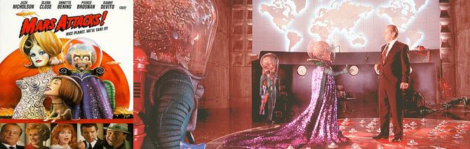1996년 팀버튼 감독의 화성침공. 상식을 뒤집는 화성인들의 행동을 통해 정치와 사회에 대한 다양한 풍자 메시지를 전달하는 걸작입니다. - 화성침공 제공