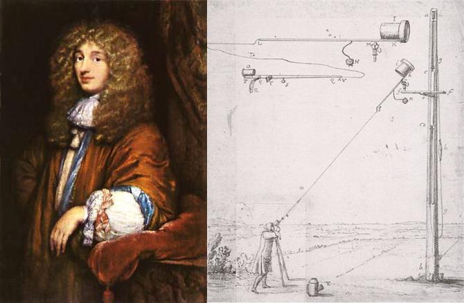 네덜란드 호이겐스의 초상화(왼쪽), 관 없이 만들어진 하위헌스의 망원경(오른쪽) - 위키미디어 제공