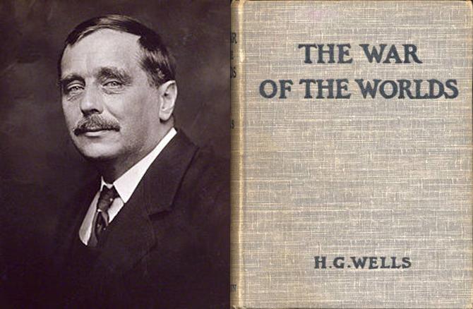 H.G. 웰스(왼쪽)가 1898년 발표한 우주전쟁 표지(오른쪽). 그는 '타임머신', '투명인간' 등 과학 소설 100여 편을 쓰며 영미과학소설계의 중심으로 떠올랐습니다. - 위키미디어 제공