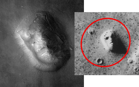 오른쪽 사진이 바이킹 1호의 사진이고, 왼쪽 사진이 20여년 후에 찍은 사진입니다. 아직도 얼굴이 보이나요? - NASA 제공