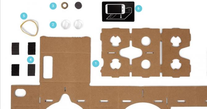 구글 카드보드는 1만원 이하 가격으로 손쉽게 접할 수 있는 조립식 VR헤드셋이다. - 구글 제공