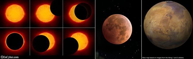 쪽부터 개기일식, 블러드문, 화성의 사진. 세 가지의 공통점은 밝고 아름다운 행운의 상징이 아닌 어둡고 붉은 불길함의 상징으로 여겨져왔다는 점이죠. - Encyber.com, 과학동아, NASA 제공