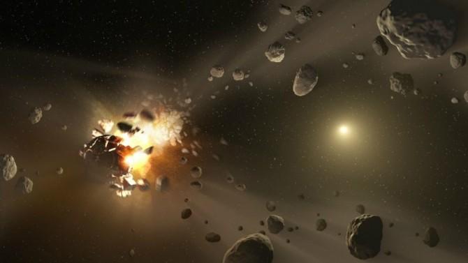 소행성 충돌을 나타낸 상상도. 최근 전 마이크로소프트 기술부문 최고경영자(CTO)이자 인텔렉추얼벤처스(IV) 최고경영자(CEO)인 네이선 마이볼드 씨는 미국항공우주국(NASA)의 소행성 관측 결과에 오류가 있다고 지적했다. - NASA 제공