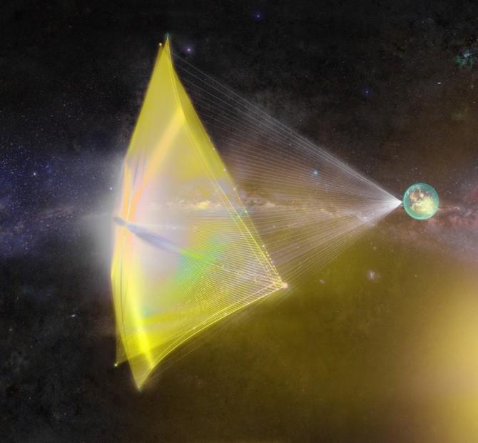 태양계에서 가장 가까운 별인 약 4.4광년 거리의 '알파 센타우리'에 우주선을 보내는 브레이크스루재단의 '스타샷(Starshot)' 프로젝트가 제안한 태양광 우주선 개념도. - (주)동아사이언스 제공