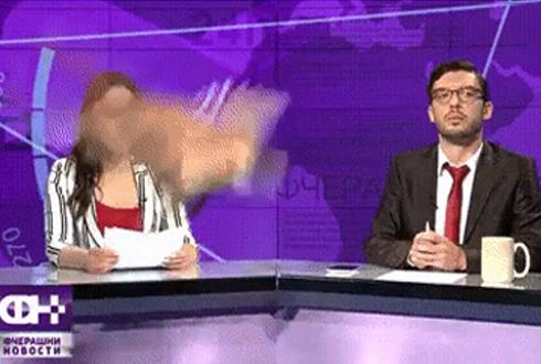 뉴스 생방송 도중에 닭 날아 다녀