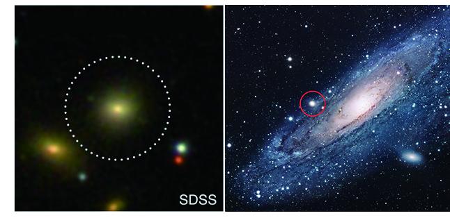 조밀타원은하(SDSS J085431.18+173730.5)의 중심에서 발견한 활동성 은하핵이 강한 에너지를 방출하고 있다(왼쪽). 조밀타원은하의 대표적인 예인, 안드로메다은하의 위성은하 M32(오른쪽 빨간 원). - 한국천문연구원 제공