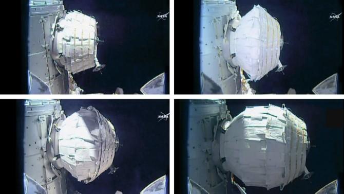 비글로 에어로스페이스의 우주 거주 시설 '비글로의 확장 가능한 활동 모듈(BEAM)'에 공기를 주입해 확장시키는 과정. 최대로 팽창시킬 경우 지름 약 3.2m, 높이 약 4m의 방이 된다. - NASA 제공